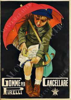 Poster PIRELLI Gomme da cancellare bambina Riproduzione A3 pubblicità vintage
