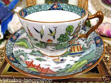 CROWN STAFFORDSHIRE TEA CUP AND SAUCER BIRDS & PAGODA PATTERN TEACUP PAINTED