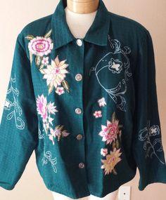 Alex Kim Jacket Turquoise Blue Embroidered Floral Blazer Womens Petite Sz PXL #AlexKim #BlazerJacket http://stores.ebay.com/Castys-Collectibles?_dmd=2&_nkw=womens+jacket