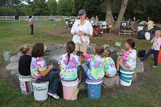 """GREAT idea! """"Bum""""kits- 5 gallon pails used for stuff and for sitting on."""