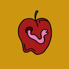 Eat Healthy #art #food #lunch #snack #worm #nature #apple #cartoon #sketch #drawing #design #red #illustration #graffiti
