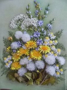 Dandelions and wild flowers #ribbonEmbroidery