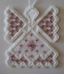 Hardanger Angel Ornament Pink Amethyst by twistedthreads on Etsy Hardanger Embroidery, Embroidery Stitches, Embroidery Patterns, Hand Embroidery, Bordados E Cia, Pink Amethyst, Drawn Thread, Types Of Embroidery, Angel Ornaments