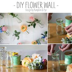 Easy and unique DIY project for your home or as a wedding backdrop using faux flowers! Design by Pumpkin and Pye Photo by Evolve Photo Fake Flowers, Diy Flowers, Artificial Flowers, Flower Wall Design, Floral Design, Wedding Flower Arrangements, Floral Arrangements, Diy Wedding Supplies, How To Preserve Flowers
