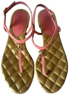 b411a7946e9 Chanel Pink Gold Quilted Interlocking Cc Leather Thong Ankle Strap Sandals  Size EU 37 (Approx