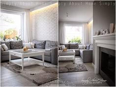 simply about home: white / grey / black / livingroom / fireplace / wood / white brick wall