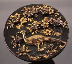 Antique Meiji Button, Japanese Bronze Shakudo Kashira, 1880