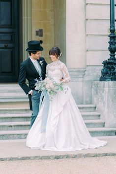 intimate wedding in the UK - bride wearing Marchesa high neck long sleeves a line lace wedding gown and groom wearing long black coat, top hat and pinstripe trousers at the front steps of Hedsor House wedding venue near London. Photo by Cristina Ilao www.cristinailao.com Wedding Venues Uk, Beautiful Wedding Venues, Wedding Blog, Intimate Weddings, Destination Weddings, Uk Bride, Wedding Groom, Lace Wedding, Bride Groom Photos