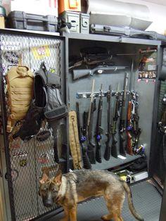 True bug out locker yeah! Ammo Storage, Weapon Storage, Safe Storage, Airsoft, Gun Rooms, Tac Gear, Fire Powers, Home Defense, Cool Gear