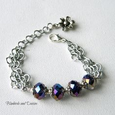 Chainmaille and Crystal Glass Bracelet by Bluebirdsanddaisies, £10.00
