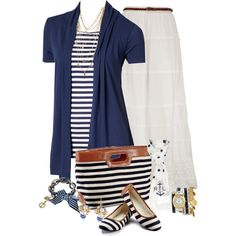 Nautical by dixiendottie on Polyvore featuring moda, La Mer, Betsey Johnson, Bee Charming and Lauren Ralph Lauren