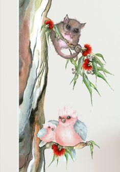 Australian Animal Tree Wall Sticker - List of the most beautiful baby products Watercolor Trees, Watercolor Artwork, Watercolor Animals, Watercolour, Tattoos Skull, Animal Tattoos, Tatoos, Animal Nursery, Nursery Art