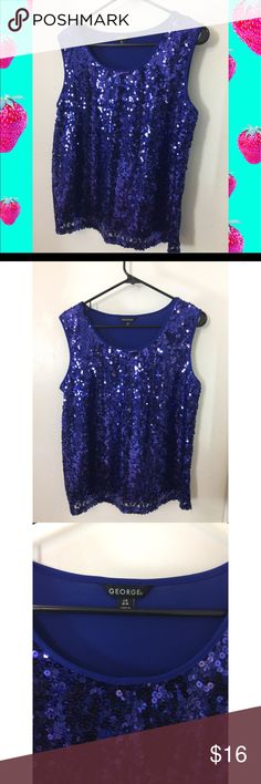 Gorgeous Sequin Plus Size Top Blue and Beautiful !! Sequin Shirt from George NWOT  Size: 14/16  Fast Shipping Smoke Free Pet Free Home George Tops