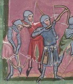 Crossbowmen, one shown with raised leg spanning crossbow, Wurttembergische Landesbibliothek WLB HB XIII 6 Weltchronik & Marienleben 1300-50 Austria.
