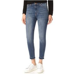DL1961 Chrissy Trimtone Skinny Jeans ($190) ❤ liked on Polyvore featuring jeans, incognito, zipper jeans, high-waisted skinny jeans, blue skinny jeans, cuffed skinny jeans and frayed skinny jeans