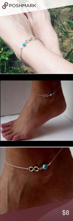 """Infinity Anklet Super cute silver toned zinc alloy with turquoise colored bead. This is about 9"""". New in package. Jewelry"""