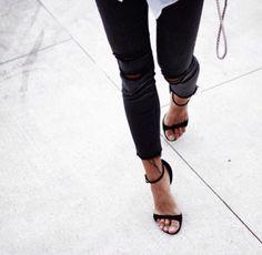 Black jean + heel sandal
