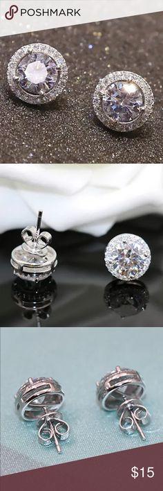COMING SOON Stud Platinum Plated Earrings Crystal Zircon Ear Stud Platinum Plated Earrings Jewelry Earrings