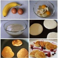 Tortitas de plátano INGREDIENTES 1 plátano 2 huevos Canela Azúcar glás Frutos rojos 120g de harinaCortar el plátano en rodajas y disponerlos en un bol junto a los huevos y la harina. PASO 2 Batir con una batidora de mano. PASO 3 Calentar un poco de mantequilla en una sartén y una vez esté bien caliente verter un tercio de la mezcla con un cazo.