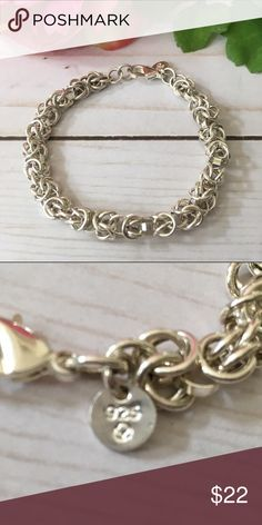"Sterling Silver plated bracelet Multiple linked sterling silver plated rings form this bracelet. New, ( no tags) no scratches, no tarnish. 7 3/4"" inches long or the lobster claw clasp can be hooked into another ring on the bracelet to make it shorter. Jewelry Bracelets"