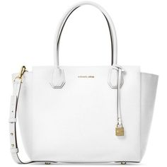 Michael Michael Kors Studio Mercer Large Satchel ($328) ❤ liked on Polyvore featuring bags, handbags, optic white, white crossbody purse, white cross body purse, white purse, satchel handbags and crossbody satchel