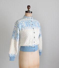 Vintage 1960s Cardigan : 60s Nordic Ski Cardigan by RaleighVintage