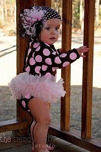Brown & Pink Polka Dot Tutu Onesie #TutuOnesie #PolkaDotOnesie #BabyGirlClothes
