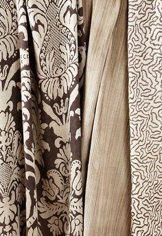 Anna Damask in Sable Brown, 68432. http://www.fschumacher.com/search/ProductDetail.aspx?sku=68432 Andrea Velvet Strie in Greige, 68332.  http://www.fschumacher.com/search/ProductDetail.aspx?sku=68332 Corallina in Grey, 68451. http://www.fschumacher.com/search/ProductDetail.aspx?sku=68451  #Schumacher