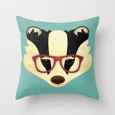 Hipster Badger Throw Pillow by Jenny Lloyd $20 - $35 ! <3 <3 <3 <3