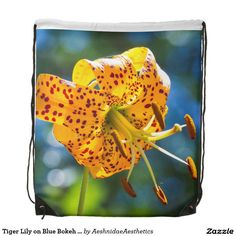 Tiger Lily on Blue Bokeh Drawstring Bag Kerchief, Gym Gear, Bokeh, Bandana, Drawstring Backpack, Jigsaw Puzzles, Lily, Classic, Green