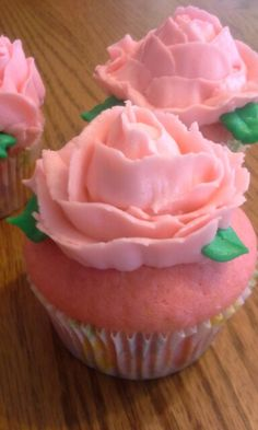 Rose frosting, pink cupcakes