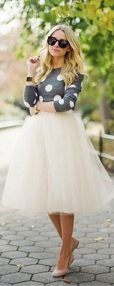 Outfit with incredibly beautiful light beige tulle skirt                                                                                                                                                                                 More