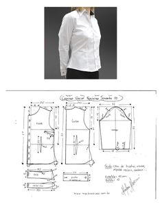 DIY - molde, corte e costura - Marlene Mukai Shirt Patterns For Women, Clothing Patterns, Dress Patterns, Sewing Patterns, Shirt Dress Pattern, Blazer Pattern, Sewing Blouses, Make Your Own Clothes, Simple Shirts