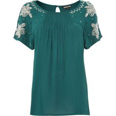 Biba Embellised pleat detail blouse (€29) found on Polyvore featuring tops, blouses, bottle green, sale, green blouse, loose fitting tops, biba, embellished tops and blue top