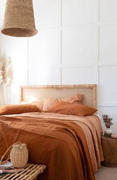 @villastyling has taken our Ochre & Sandalwood French Linen and styled it with a beautiful headboard by @yakandyetitrader we're in love with this interior dream