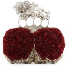 Alexander McQueen Beaded Flower Knuckle Box Clutch Bag ($4,795) ❤ liked on Polyvore featuring bags, handbags, clutches, borse, clutches / wallets / purses, flower handbag, alexander mcqueen handbags, red box clutch, red clutches and beaded purse