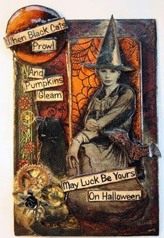 When Witched go riding And Black Cats are seen The Moon Laughs and Whispers 'Tis Near Halloween. mixed media on canv. Halloween Shadow Box, Halloween Tags, Halloween Pictures, Holidays Halloween, Scary Halloween, Happy Halloween, Halloween Poems, Vintage Halloween Cards, Halloween Paper Crafts