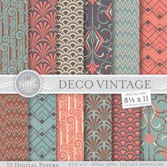 "VINTAGE ART DECO Patterns 8 1/2"" x 11"" Digital Paper Pack Pattern Prints, Instant Download, Backgrounds Print Vintage Palette"
