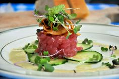Explore the many different types of cuisine available with our guide to the best restaurants in the beautiful Coconut Grove, Miami. Raw Food Recipes, Italian Recipes, Mexican Food Recipes, Cooking Recipes, Ethnic Recipes, Tuna Tartare Recipe, Steak Tartare, Miami Restaurants, Coconut Grove Restaurants