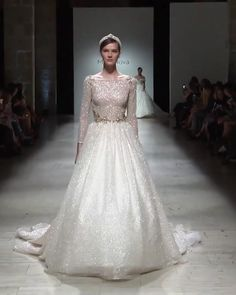 "2019 ""Royal"" Collection Gorgeous A-Lane Princess Wedding Dress / Bridal Gown with Boat Neckline, Long Sleeves, Open Back Illusion and a Train. Runway Show by Milla Nova Country Wedding Dresses, Princess Wedding Dresses, Dream Wedding Dresses, Wedding Dress Styles, Wedding Dress Sparkle, Royal Wedding Gowns, Gown Wedding, Wedding Shoes, Lace Wedding"