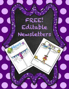 Free! Editable Newsletters from TeacherTam on TeachersNotebook.com (4 pages)