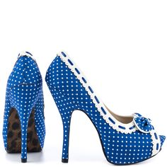 Be a pin up beauty in the Gwendolyn blue and white polka dot fabric drapes over the silhouette while highlighted with scallop trim and adorable bow featuring stiletto heel and platform complete this super cute peep toe.