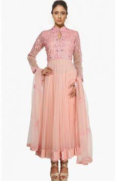 Tea-rose #Pink Net Embroidered Wedding #Anarkali Kameez Sku Code:92-5417SL441557 US $ 252.00 http://www.sareez.com/product_info.php?products_id=168635