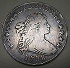 1798 Large Eagle - Beautiful 1798 Draped Bust Large Eagle Silver Dollar Grading FINE to VF http://www.goldcoinsandbarsonline.com/1798-large-eagle/#
