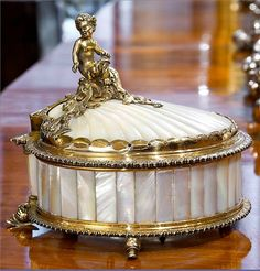 Silver-gilt and mother-of-pearl inkstand ~ By Catchpole and Williams, London 1910 / A. Pash & Sons of Mayfair