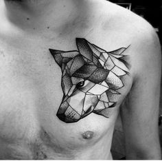 Geometric Wolf Design … M Wolf Tattoos, Animal Tattoos, Body Art Tattoos, New Tattoos, Tattoos For Guys, Sleeve Tattoos, Chest Tattoos For Men, Brown Tattoos, Tatoos