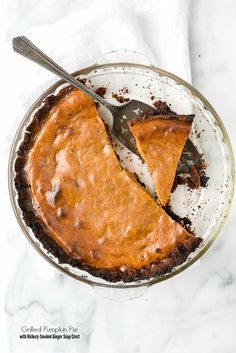 Grilled Pumpkin Pie with Hickory-Smoked Ginger Snap Crust recipe. Made fully on the grill with unique sweet and smoky flavors. A twist on the classic pumpkin pie. Recipe Using Pumpkin, Homemade Pumpkin Puree, Pumpkin Pie Recipes, Canned Pumpkin, Best Dessert Recipes, Unique Recipes, Fun Desserts, Fall Recipes, Thanksgiving Recipes