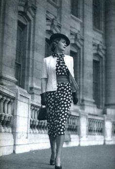1930s polka dot dress vintage photo
