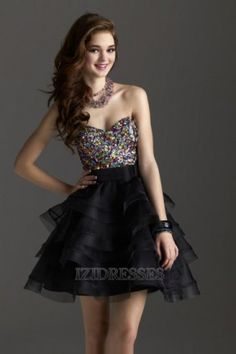 A-line Strapless Sweetheart Organza Prom Dress - IZIDRESSES.com