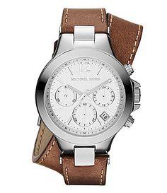 Michael Kors Peyton Brown Leather Double Wrap Watch #Dillards